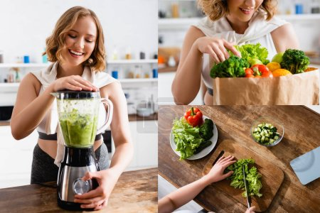 Photo for Collage of woman cutting lettuce, touching groceries and making smoothie in blender - Royalty Free Image