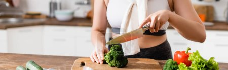 website header of woman cutting broccoli on chopping board