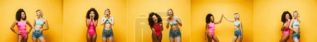 Photo for Collage of young multicultural women in summer outfit posing and gesturing on yellow, horizontal image - Royalty Free Image