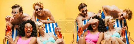 Photo for Collage of shirtless men having fun with multicultural women sitting in deck chairs with cocktails isolated on yellow, horizontal image - Royalty Free Image