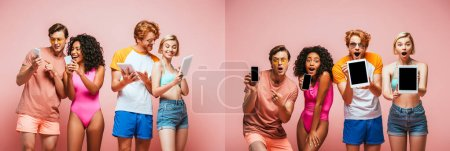 Photo for Collage of multicultural friends in summer outfit using and showing gadgets isolated on pink, panoramic shot - Royalty Free Image