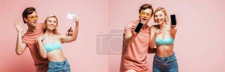 Photo pour Collage de couple en maillot de bain et lunettes de soleil ayant un appel vidéo et montrant les smartphones sur fond rose - image libre de droit