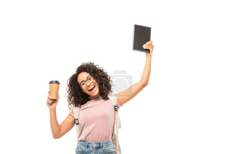 Photo for African american student with backpack holding disposable cup and notebook isolated on white - Royalty Free Image