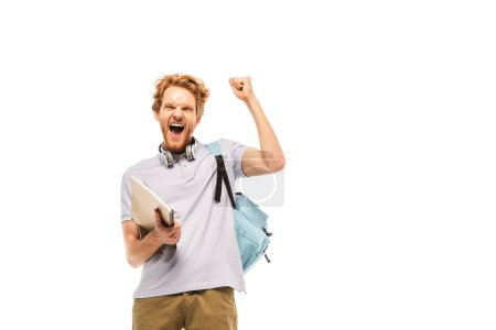 Student with backpack and notebook showing yes gesture isolated on white