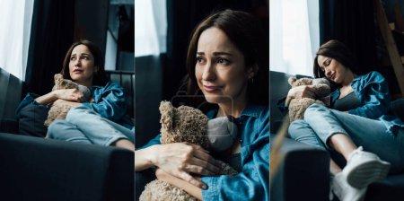 Collage einer aufgebrachten brünetten Frau, die einen Teddybär hält und im Wohnzimmer wegschaut