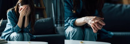 Photo for Collage of upset woman covering face while sitting near coffee table with golden ring, divorce concept - Royalty Free Image