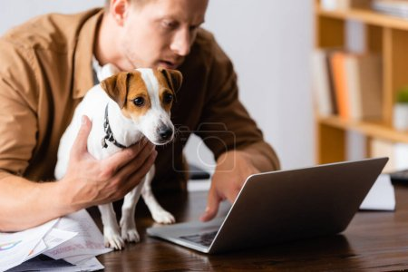 selective focus of young businessman with jack russell terrier dog working at laptop in office