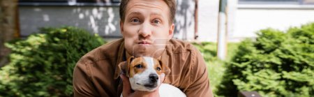 Photo for Horizontal concept of man holding jack russell terrier dog, grimacing and puffing out cheeks - Royalty Free Image