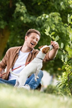 selective focus of man in casual clothes playing with jack russell terrier dog while sitting on grass