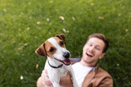 Photo pour Foyer sélectif de l'homme excité tenant Jack Russell terrier chien tout en étant couché sur la pelouse verte - image libre de droit