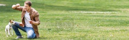 Photo pour Vue panoramique de l'homme formation Jack Russell terrier dans le parc - image libre de droit