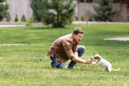 Photo for Selective focus of man playing with jack russell terrier in park - Royalty Free Image