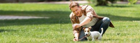Photo pour Vue panoramique de l'homme agenouillé près de Jack Russell Terrier sur la pelouse dans le parc - image libre de droit