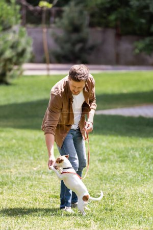 Selective focus of man playing with jack russell terrier on leash in park