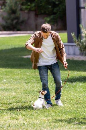 Photo pour Focus sélectif de l'homme en jeans jouant avec Jack Russell Terrier sur la pelouse - image libre de droit