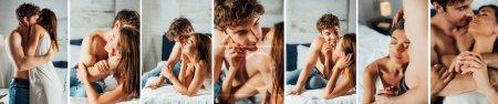 Photo pour Collage d'homme torse nu en jeans embrasser et embrasser petite amie dans la chambre - image libre de droit