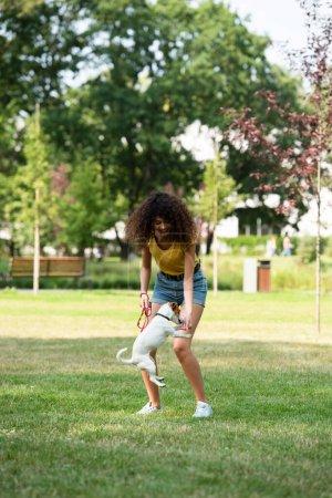 Photo pour Focus sélectif de la jeune femme jouant avec Jack Russell Terrier chien - image libre de droit