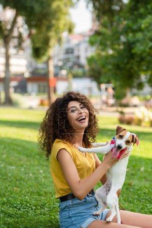 Selektiver Fokus einer aufgeregten Frau mit Jack Russell Terrier Hund, die in die Kamera blickt