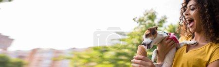 Photo pour Culture panoramique de jeune femme avec papillon de nuit ouvert regardant chien lécher la crème glacée - image libre de droit