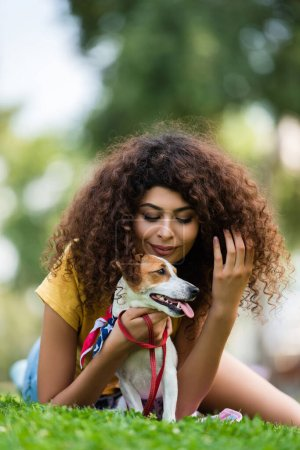 young woman touching curly hair while lying with  jack russell terrier dog on green grass