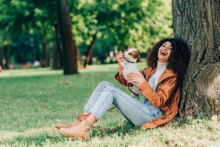 Selektiver Fokus der lachenden Frau im Regenmantel, die mit Jack Russell Terrier im Park spielt