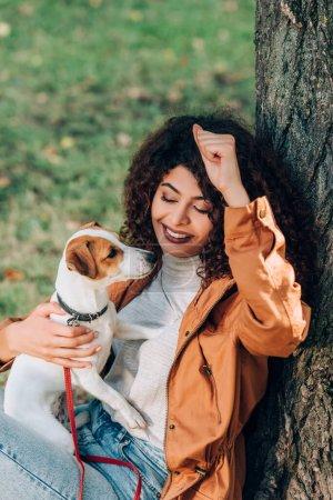Photo pour Femme bouclée en imperméable tenant Jack Russell Terrier près de l'arbre dans le parc - image libre de droit