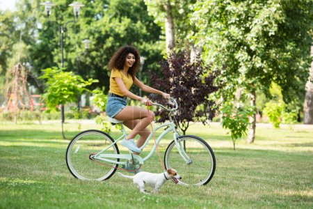 Selective focus of curly woman cycling near jack russell terrier in park