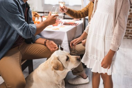 partial view of african American girl and golden retriever near family clinking wine glasses during thanksgiving dinner