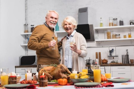 Selective focus of senior couple with glasses of wine looking at camera near turkey and candles on table