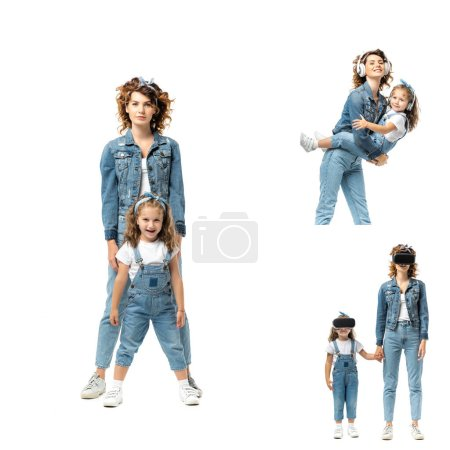 collage of mother and daughter in denim outfits spending time together isolated on white