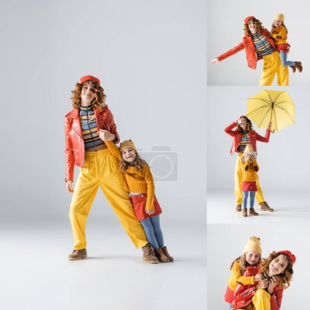 collage of mother and daughter in colorful red and yellow outfits on grey background