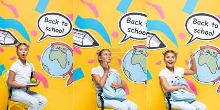 Photo pour Collage of excited and dreamy schoolgirl with apple and backpack sitting on chair near speech bubble and paper art on yellow background - image libre de droit