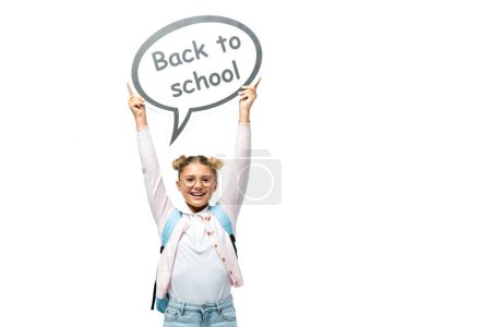 Schoolkid holding speech bubble with back to school lettering on white background