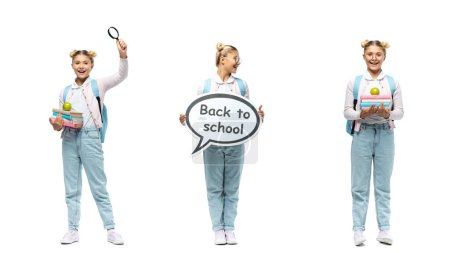 Photo for Collage of schoolgirl holding speech bubble with back to school lettering, books and loupe on white background - Royalty Free Image