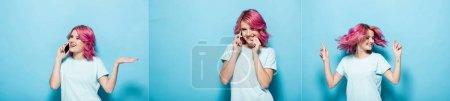 Photo pour Collage de jeune femme agitant les cheveux roses et parlant sur smartphone sur fond bleu, prise de vue panoramique - image libre de droit