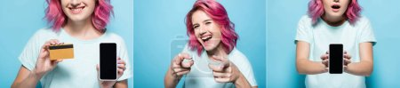 collage of young woman with pink hair with smartphone and credit card on blue background, panoramic shot