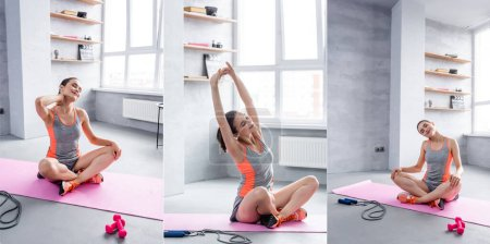 Collage of woman stretching on fitness mat near dumbbells and skipping rope