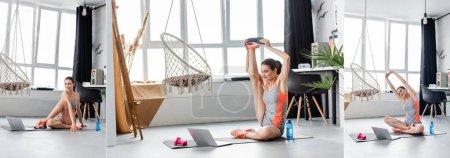 Photo pour Collage de jeunes sportives faisant de l'exercice sur tapis de fitness près d'un ordinateur portable et d'haltères à la maison - image libre de droit