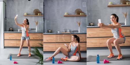 Photo for Collage of young sportswoman using smartphone and taking selfie while exercising in kitchen - Royalty Free Image