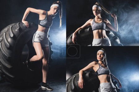 Collage of sportswoman working out with tire in sports center with smoke