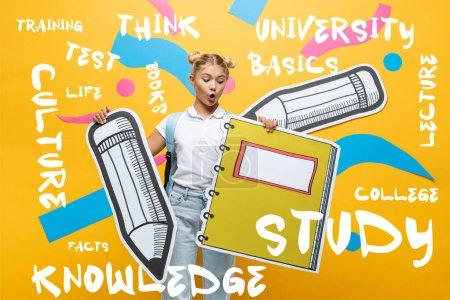 Photo pour Écolier choqué tenant un cahier en papier et un crayon près du lettrage sur jaune - image libre de droit