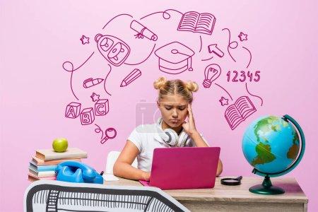 Sad kid in headphones using laptop near globe, books, retro telephone, illustration and paper art on pink