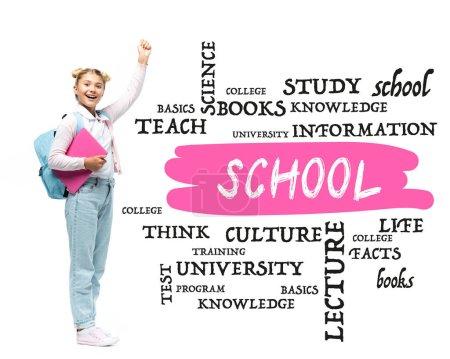 Photo pour Écolière avec ordinateur portable et sac à dos montrant geste ouais près de l'école lettrage et illustration sur blanc - image libre de droit