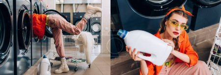 collage of woman in sunglasses holding bottle with detergent near washing machines in laundromat