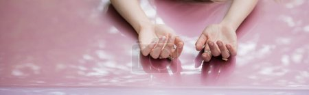 Photo for Partial view of female hands on car hood, banner - Royalty Free Image