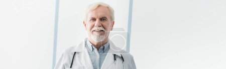 Website header of elderly doctor in white coat looking at camera in clinic