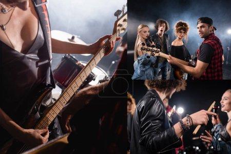 KIEW, UKRAINE - 25. AUGUST 2020: Collage von Musikern, die in die Kamera schauen, Schlagzeuger hält Schlagzeug, Frau spielt E-Gitarre neben Schlagzeug