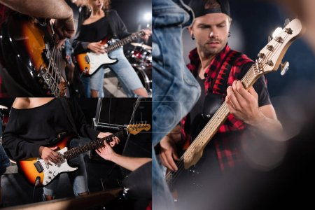KYIV, UKRAINE - AUGUST 25, 2020: Collage of musicians playing electric guitars during rock band rehearsal