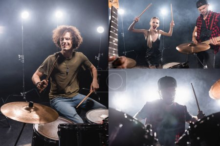 KIEW, UKRAINE - 25. AUGUST 2020: Collage aus Schlagzeugern der Rockband und blonder Frau mit Schlagstöcken, die schreit, während sie neben einem Musiker sitzt, der E-Gitarre spielt