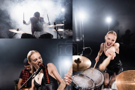 Collage of blonde woman pointing with drumsticks, singing, while playing guitar and drummer sitting at drum kit